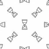 Grey Line Old Hourglass With Flowing Sand Icon Isolated Seamless Pattern On White Background. Sand C poster