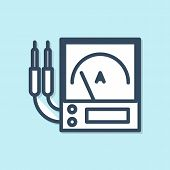 Blue Line Ampere Meter, Multimeter, Voltmeter Icon Isolated On Blue Background. Instruments For Meas poster