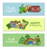 Horizontal Banner Set For Day Of Saint Patrick. St. Patrick S Day Banners Set Vector Illustration. H poster