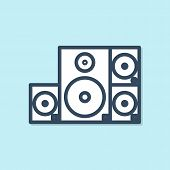 Blue Line Stereo Speaker Icon Isolated On Blue Background. Sound System Speakers. Music Icon. Musica poster