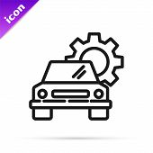Black Line Car Service Icon Isolated On White Background. Auto Mechanic Service. Repair Service Auto poster
