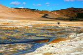 The View Of The Smoking Surface And Colorful Ground At Namafjall Hverir Geothermal Area, Myvatn, Ice poster