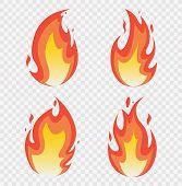 Fire Flames Set. Fires Image, Hot Flaming Ignition, Flammable Blaze Heat Explosion Danger Flames Ene poster