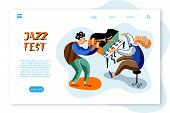 Jazz Fest Landing Page Template. Musicians Flat Vector Characters Set. Band, Orchestra Performance,  poster