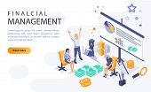 Financial Management Landing Page Vector Template With Isometric Illustration. Economic Literacy Hom poster