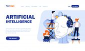 Artificial Intelligence Flat Landing Page Template With Header. Scientific Development Web Banner, H poster