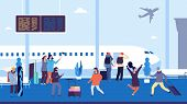 Winter Travel. Passengers Wait Flight, Meet And Escort People. People At Airport With Suitcases. Vec poster