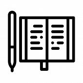 Notebook Pen Icon Vector. Outline Notebook Pen Sign. Isolated Contour Symbol Illustration poster
