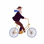 Stylish Elderly Man Riding Bicycle Flat Vector Illustration. Trendy Grandfather At Urban Vehicle. Re poster