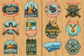 Set Of Hunting Club Badge. Vector Concept For Shirt, Label, Print, Stamp, Patch. Vintage Typography  poster