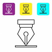 Black Line Fountain Pen Nib Icon Isolated On White Background. Pen Tool Sign. Set Icons Colorful Squ poster