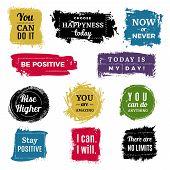 Motivation Badges. Grunge Background Ink Brush Paint Labels With Text Vector Set. Illustration Motiv poster