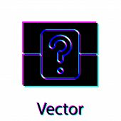 Black Mystery Box Or Random Loot Box For Games Icon Isolated On White Background. Question Box. Vect poster