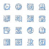Customer Service, Online Support Linear Vector Icons Set. 24 Hours Call Center, Internet Assistance, poster