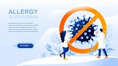Allergy Flat Landing Page With Header, Banner Vector Template. Drugs For Treating Allergy Symptoms,  poster