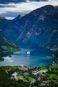 Fjord Geirangerfjord With Cruise Ship, View From Flydasjuvet Viewing Point, Norway. Travel Destinati poster