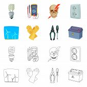 Vector Design Of Electricity And Electric Icon. Collection Of Electricity And Energy Stock Symbol Fo poster