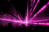 Pink Laser Show Nightlife Club Stage With Party People Crowd. Luxury Entertainment With Audience Sil poster