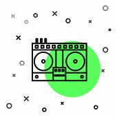 Black Line Dj Remote For Playing And Mixing Music Icon Isolated On White Background. Dj Mixer Comple poster