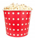 Popcorn in large spotted dotted polka dot cardboard box for cinema poster