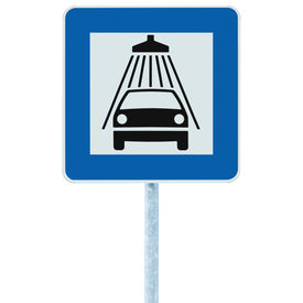 picture of car wash  - Car wash road sign on post pole traffic roadsign blue isolated vehicle shower washing service roadside signage - JPG