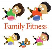 stock photo of obesity children  - Illustration of a family exercising with stability ball - JPG