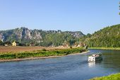 Bastei With Elbe River And Boat In Saxony