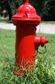 stock photo of firehose  - A Red fire hydrant that was in a front yard by a house - JPG