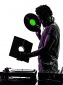 one disc jockey man holding vinyl disc in silhouette on white background
