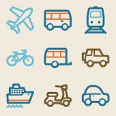 Transport web icons, vintage series