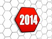 New Year 2014 On Red Hexagon