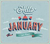 Hello January Typographic Design.