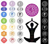 stock photo of kundalini  - Man silhouette in yoga position with the symbols of seven chakras - JPG