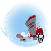 picture of aerobatics  - Vector Cartoon Biplane - JPG