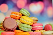 pic of french pastry  - french macarons on wooden table - JPG