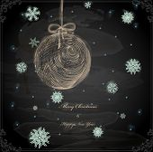 stock photo of taper  - Christmas Hand Drawn Ball with Snowflakes for Xmas design - JPG