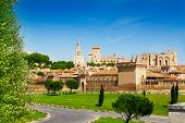 foto of avignon  - Old town of Avignon behind the city fortification walls in Provence France - JPG