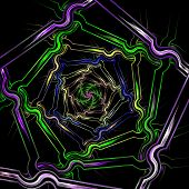 Abstract Fractal Image Resembling A Puffed Colorful Star Flower