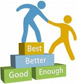 stock photo of climb up  - Mentor helping person achieve good enough better and best improvement on evaluation - JPG