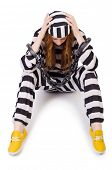 picture of prison uniform  - Prisoner in striped uniform on white - JPG