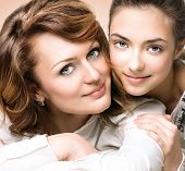 stock photo of teenagers  - Mother and Teen Daughter - JPG