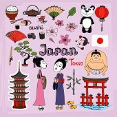 stock photo of koi  - Japan landmarks and cultural icons vector set with Geisha girls  Torii Gates  sumo wrestler  fans  panda  paper lantern  bonsai  cherry blossom  koi  bamboo  tea and rice - JPG