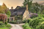pic of english cottage garden  - Pretty thatched Cotswold cottage in the village of Stanton - JPG