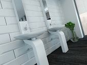 stock photo of wash-basin  - Picture of modern design white wash basin and faucet - JPG