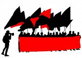 stock photo of anarchists  - People of anarchy with large flags - JPG