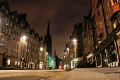 stock photo of mile  - Night view of the Royal Mile - JPG