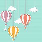 foto of applique  - Hot air balloons and clouds in paper cutout style - JPG