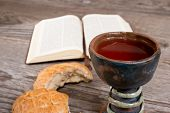 picture of humble  - still life with bible and chalice of wine - JPG