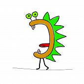 foto of prehistoric animal  - funny cartoon animal color vector illustration on a white - JPG