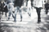 foto of pedestrian crossing  - unrecognizable Pedestrians in modern city street - JPG